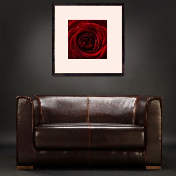 A dark room with sofa