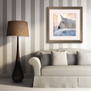 3d modern Classic interior with stripes wallpaper, sofa, frames